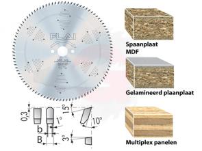 Geluidsarm zaagblad voor spaanplaat, gelamineerd spaanplaat, MDF met chroom coating